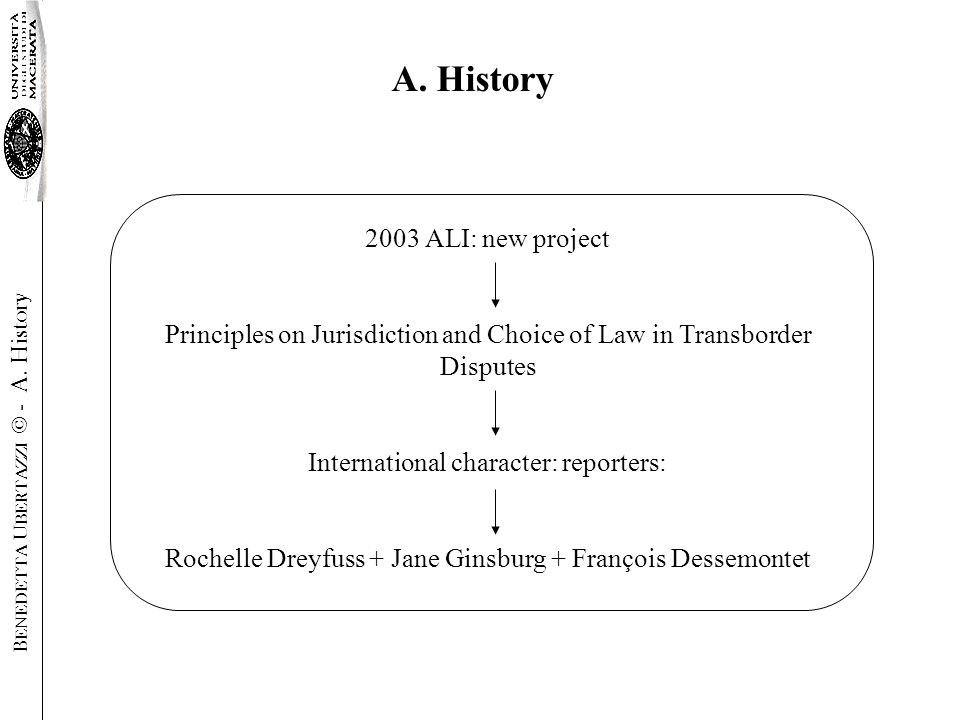 2003 ALI: new project Principles on Jurisdiction and Choice of Law in Transborder Disputes International character: reporters: Rochelle Dreyfuss + Jane Ginsburg + François Dessemontet A.