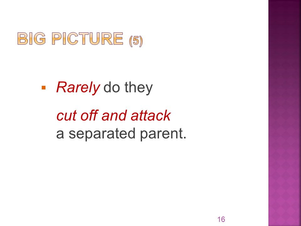  Rarely do they cut off and attack a separated parent. 16
