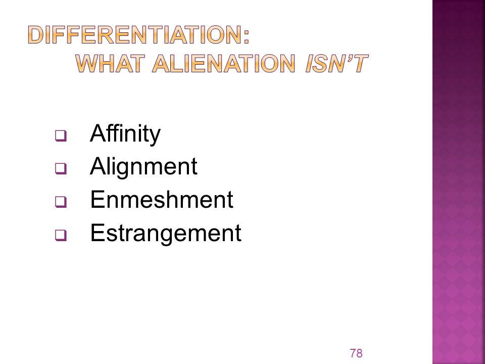 Affinity  Alignment  Enmeshment  Estrangement 78