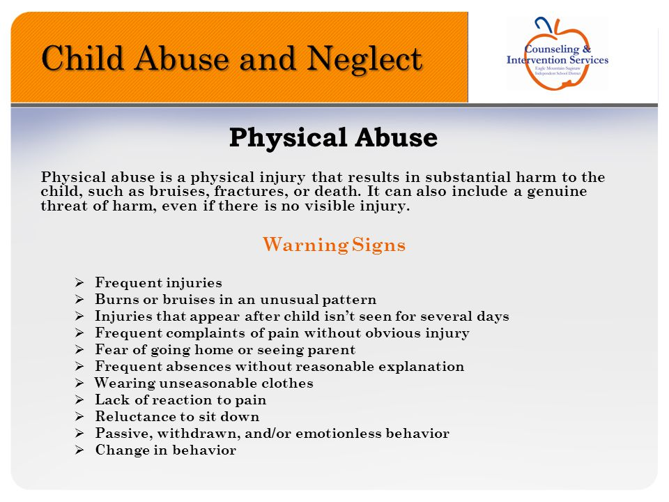 Child Abuse and Neglect Emotional Abuse Emotional abuse is an action that results in a marked impact on a child s growth, development, or psychological functioning.