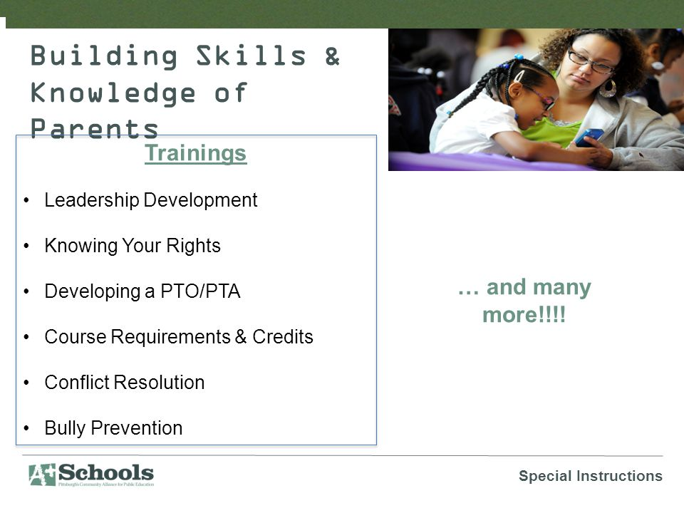 Building Skills & Knowledge of Parents Trainings Leadership Development Knowing Your Rights Developing a PTO/PTA Course Requirements & Credits Conflict Resolution Bully Prevention Special Instructions … and many more!!!!