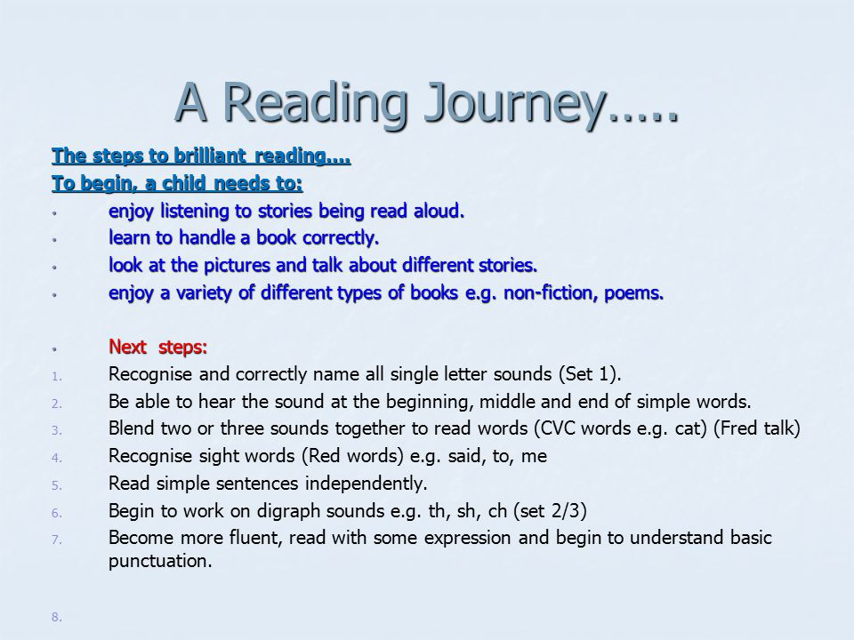 A Reading Journey….. The steps to brilliant reading….