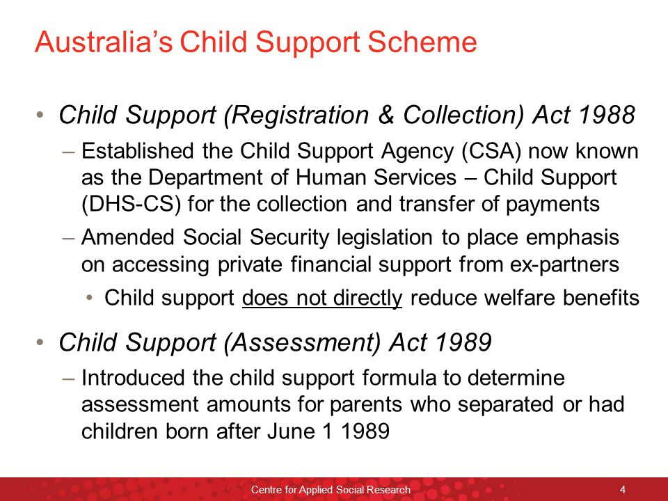 The bureaucratic context The Child Support Agency was originally located within the Australian Tax Office (ATO) –Extended the ATO's role from collecting tax from wages to collecting child support –The ATO was uncomfortable with its new role in distributing child support payments to recipients –This bureaucratic relationship only lasted until October 1988 (Edwards, Howard & Miller 2001) RMIT University©2014 Centre for Applied Social Research 5