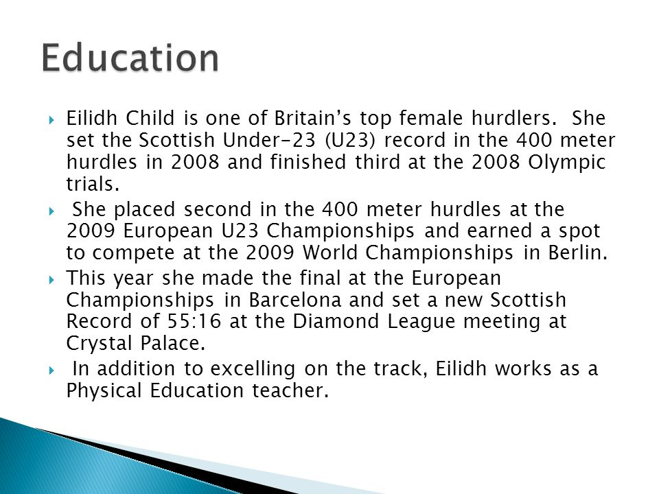  Eilidh Child is one of Britain's top female hurdlers.