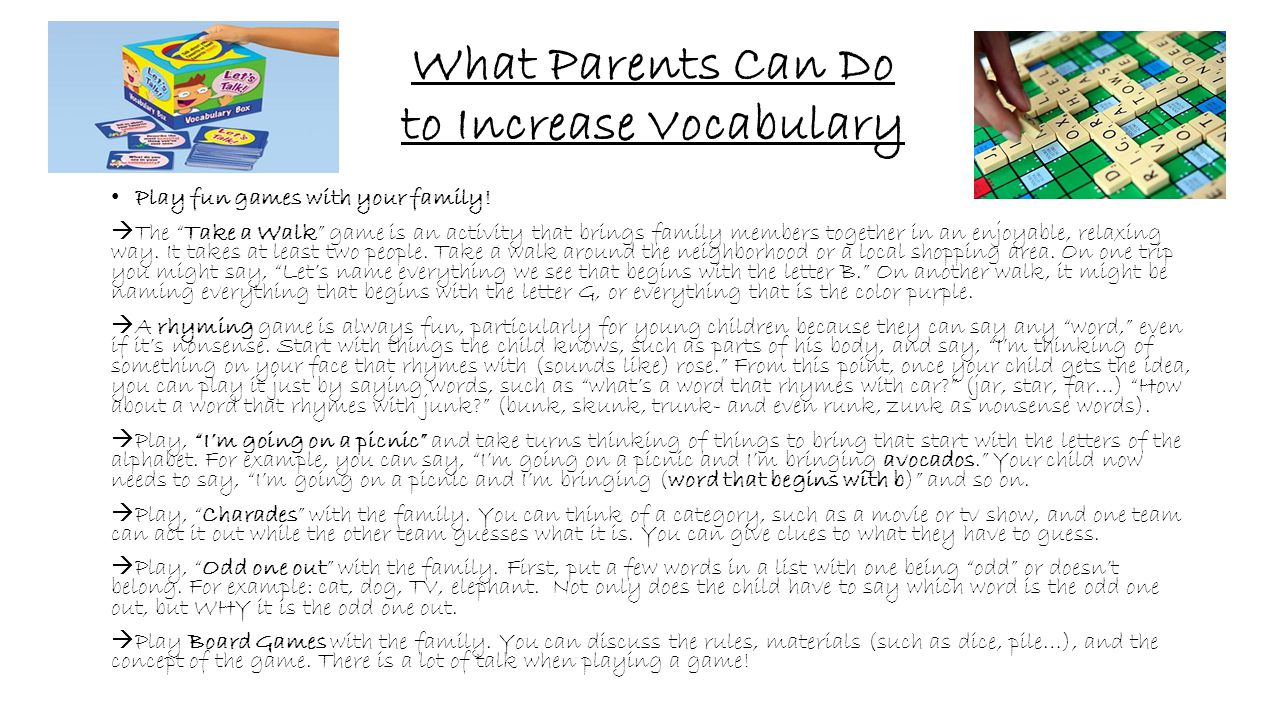 """What Parents Can Do to Increase Vocabulary Play fun games with your family!  The """"Take a Walk"""" game is an activity that brings family members togethe"""