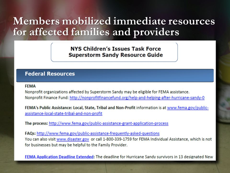 Members mobilized immediate resources for affected families and providers