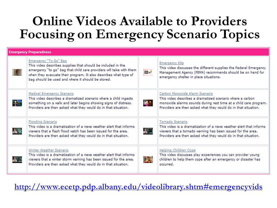 http://www.ecetp.pdp.albany.edu/videolibrary.shtm#emergencyvids Online Videos Available to Providers Focusing on Emergency Scenario Topics