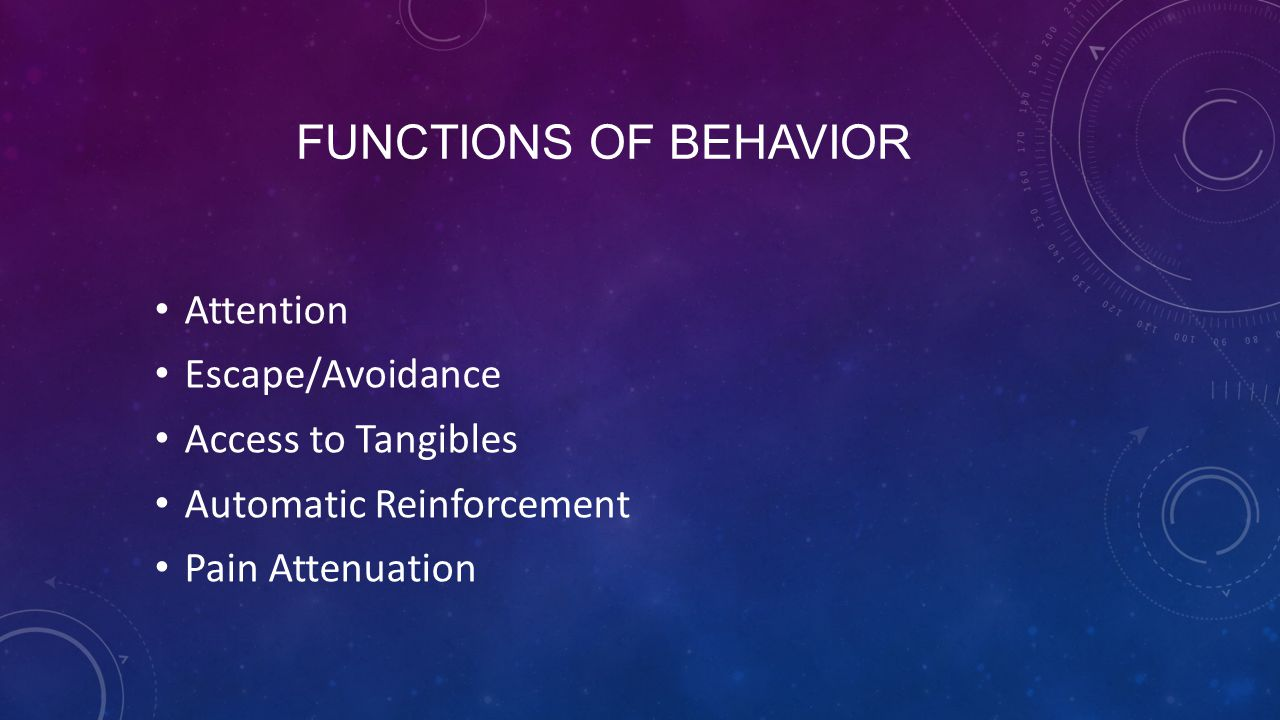 FUNCTIONS OF BEHAVIOR Attention Escape/Avoidance Access to Tangibles Automatic Reinforcement Pain Attenuation