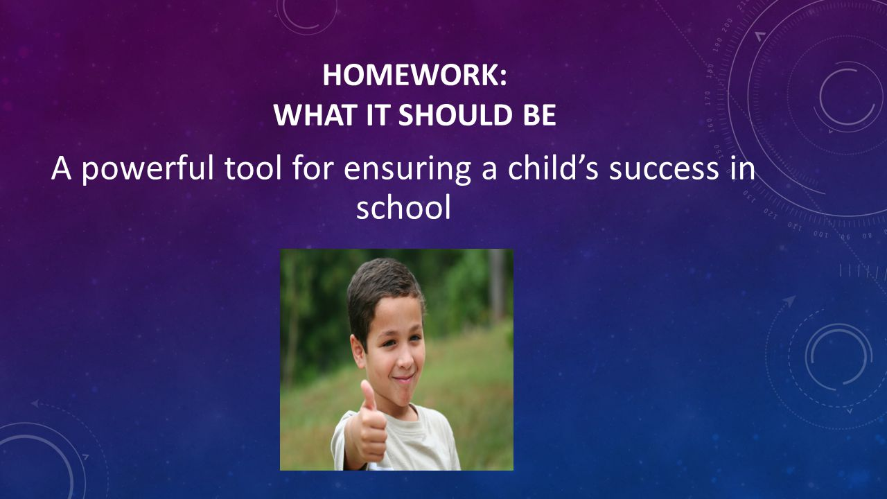 HOMEWORK: WHAT IT SHOULD BE A powerful tool for ensuring a child's success in school