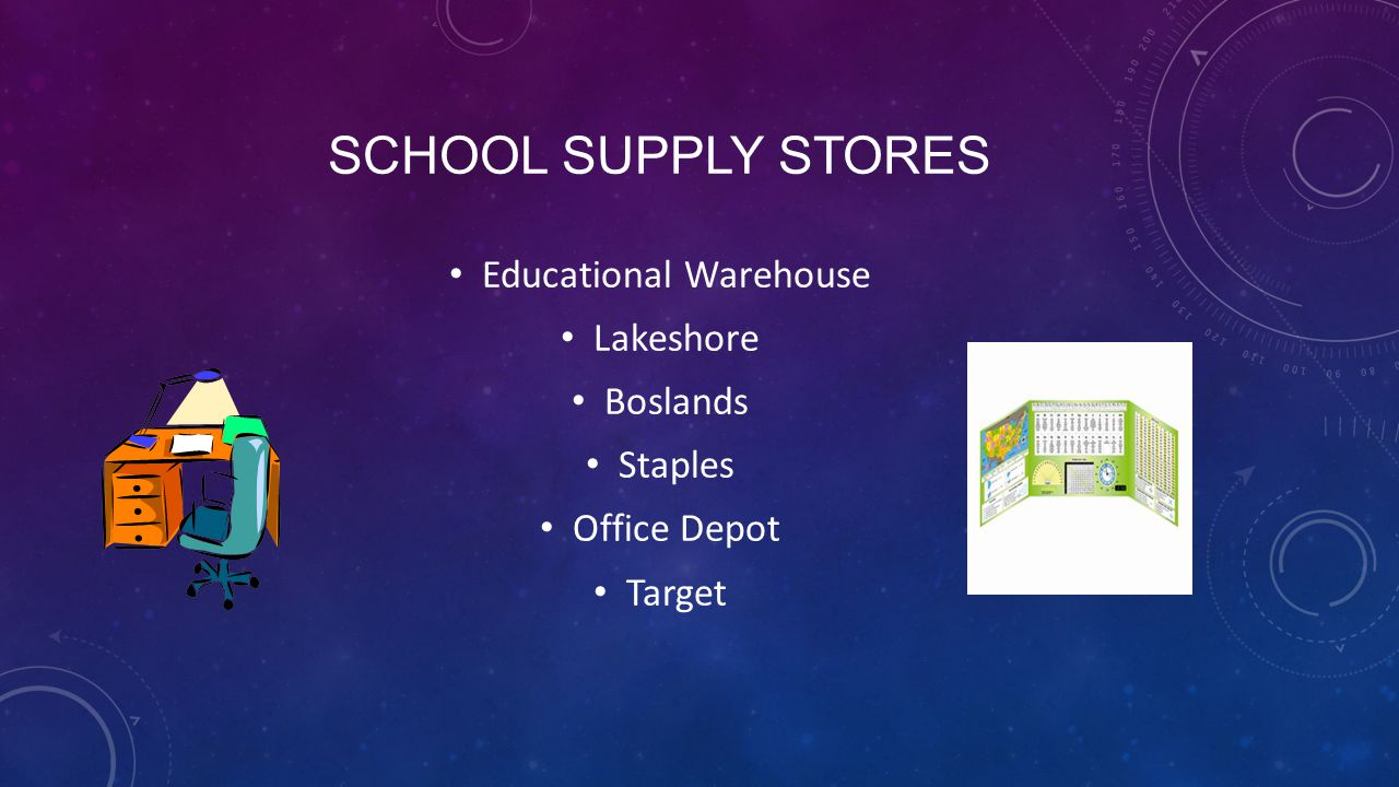 SCHOOL SUPPLY STORES Educational Warehouse Lakeshore Boslands Staples Office Depot Target