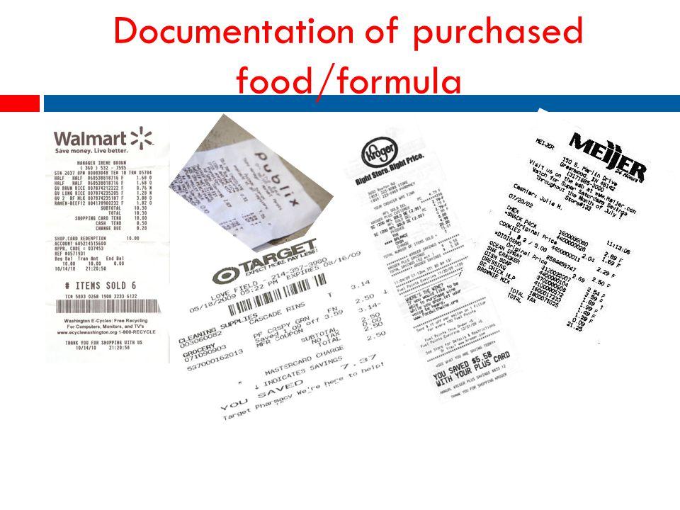 Documentation of purchased food/formula