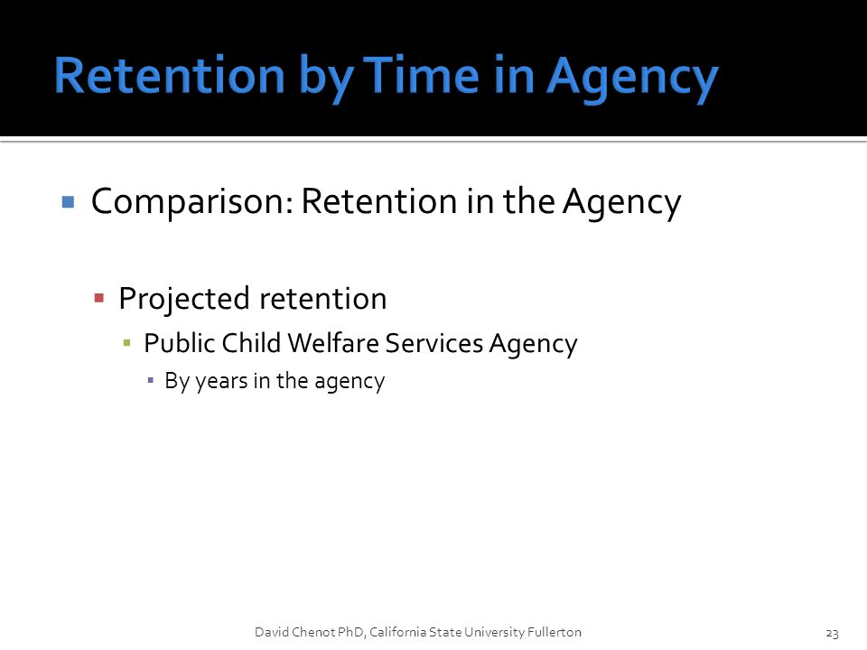  Comparison: Retention in the Agency  Projected retention ▪ Public Child Welfare Services Agency ▪ By years in the agency David Chenot PhD, California State University Fullerton23