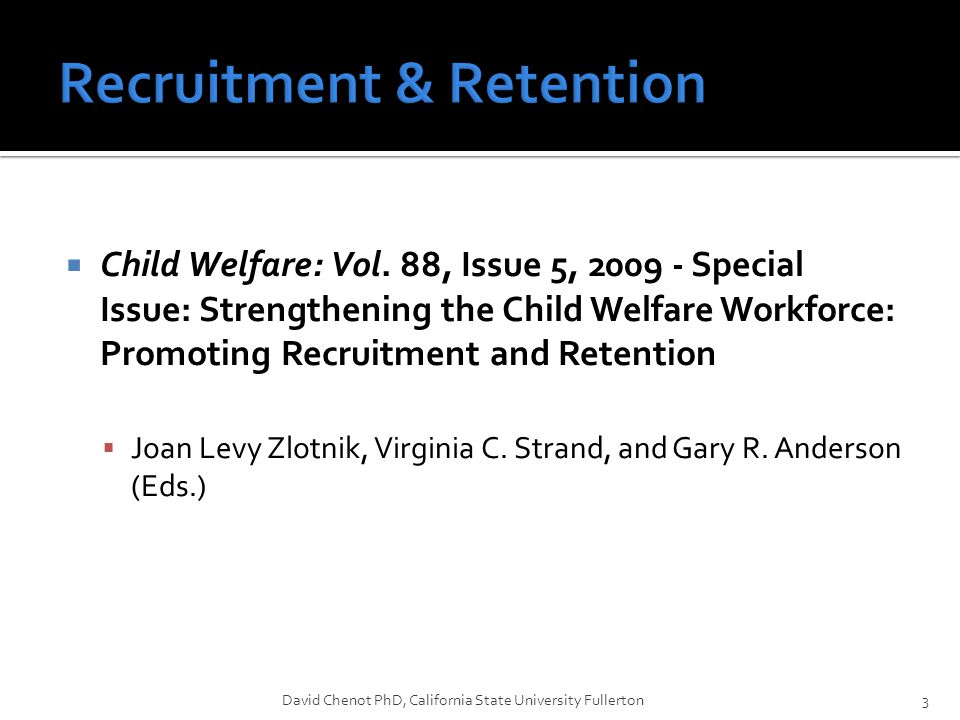  Results  Supervisor support predicted retention in PCWS agencies at every career level but was strongest in early and mid career  Peer support predicted retention in PCWS agencies only among those early in their careers  Supervisor support was a significant predictor of retention in the Field-CWS and in early and mid career only.