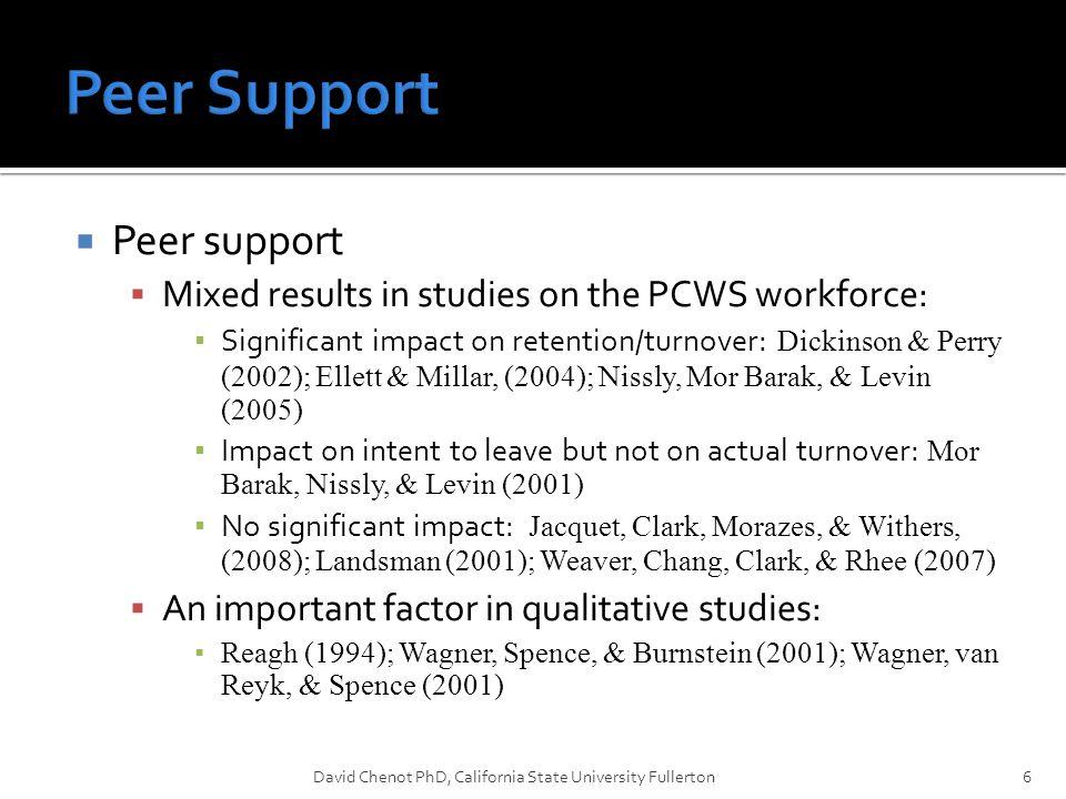  Organizational Culture  Few studies on PCWS organizations  C0nstructive cultures have a positive impact on job satisfaction & retention in PCWS agencies ▪ Glisson (2007); Glisson & James (2002); Glisson et al., (2008)  Passive defensive cultures, not so much.