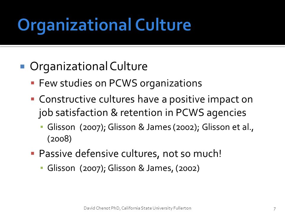  Organizational Culture  Few studies on PCWS organizations  C0nstructive cultures have a positive impact on job satisfaction & retention in PCWS ag