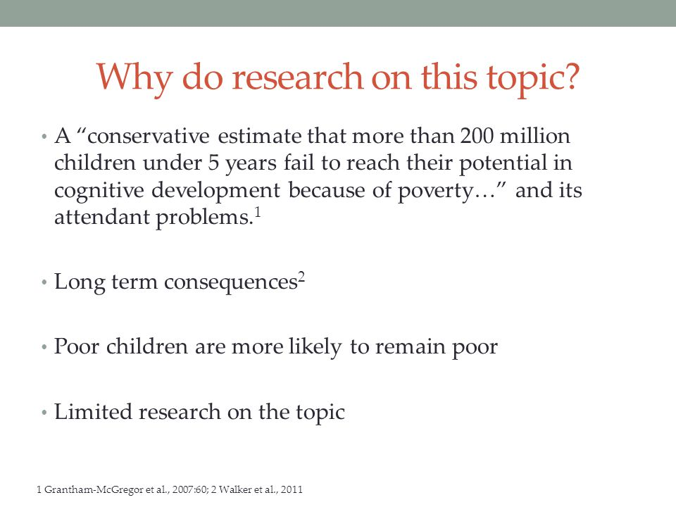 Research Questions How and to what extent are parental resources associated with child development.