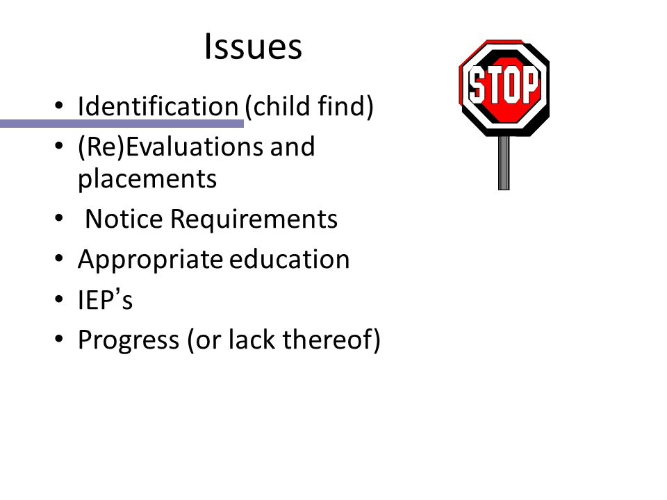 Issues Identification (child find) (Re)Evaluations and placements Notice Requirements Appropriate education IEP ' s Progress (or lack thereof)
