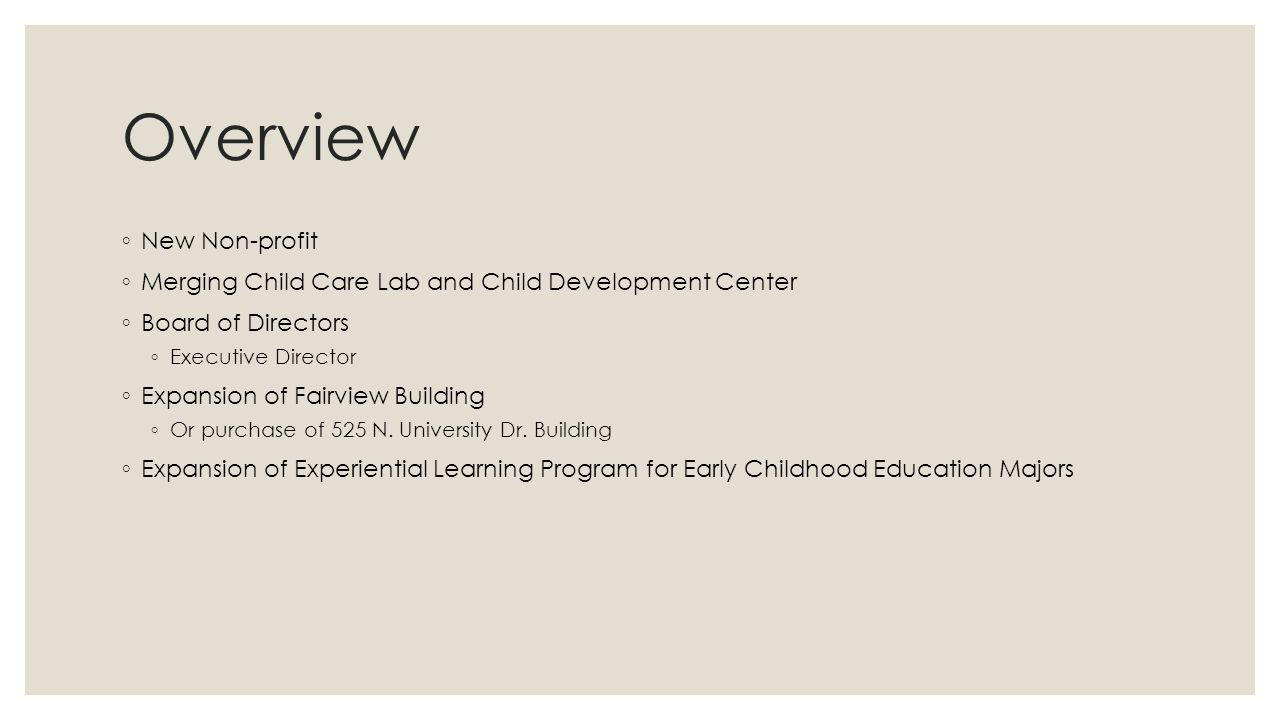 Overview ◦ New Non-profit ◦ Merging Child Care Lab and Child Development Center ◦ Board of Directors ◦ Executive Director ◦ Expansion of Fairview Building ◦ Or purchase of 525 N.