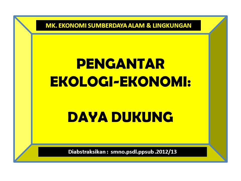 PENGANTAR EKOLOGI-EKONOMI: DAYA DUKUNG Diabstraksikan : smno.psdl.ppsub.2012/13 MK.