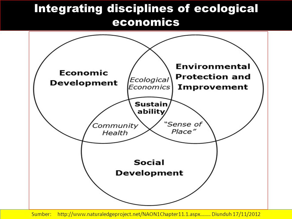 Sumber: http://www.naturaledgeproject.net/NAON1Chapter11.1.aspx…….. Diunduh 17/11/2012 Integrating disciplines of ecological economics
