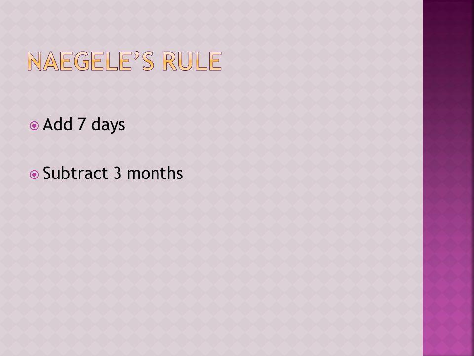  Add 7 days  Subtract 3 months