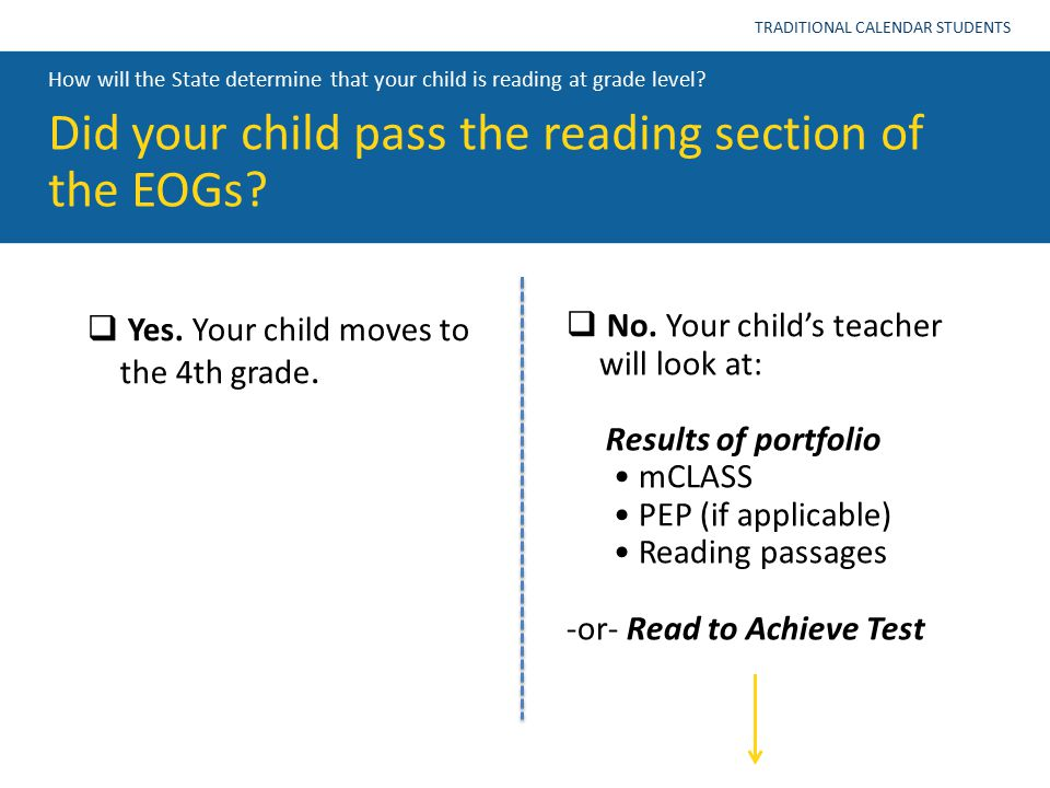 How will the State determine that your child is reading at grade level? Did your child pass the reading section of the EOGs? TRADITIONAL CALENDAR STUD