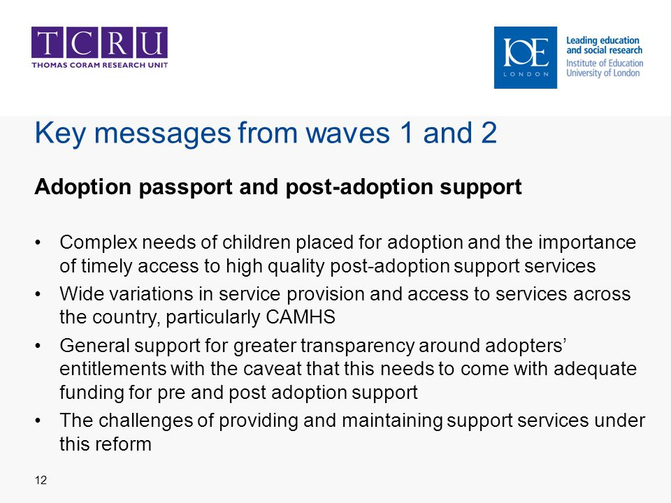 Key messages from waves 1 and 2 Adoption passport and post-adoption support Complex needs of children placed for adoption and the importance of timely access to high quality post-adoption support services Wide variations in service provision and access to services across the country, particularly CAMHS General support for greater transparency around adopters' entitlements with the caveat that this needs to come with adequate funding for pre and post adoption support The challenges of providing and maintaining support services under this reform 12