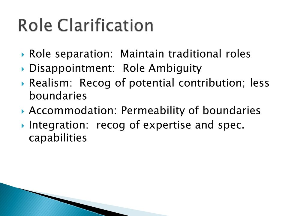  Role separation: Maintain traditional roles  Disappointment: Role Ambiguity  Realism: Recog of potential contribution; less boundaries  Accommoda