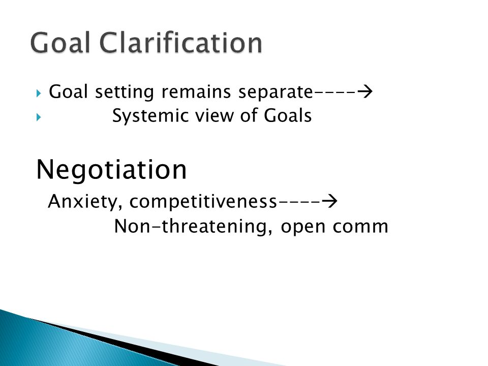  Goal setting remains separate----   Systemic view of Goals Negotiation Anxiety, competitiveness----  Non-threatening, open comm