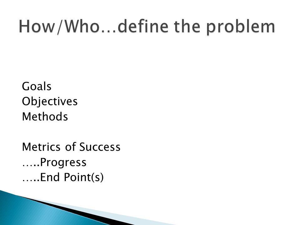 Goals Objectives Methods Metrics of Success …..Progress …..End Point(s)