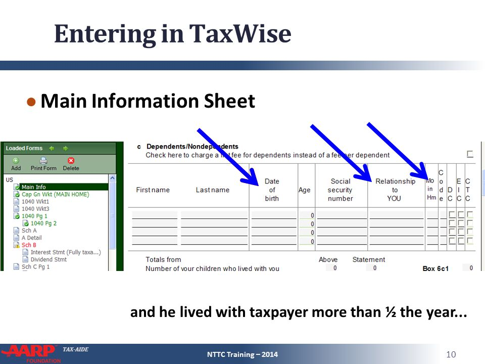TAX-AIDE Entering in TaxWise ● Main Information Sheet NTTC Training – 2014 10 and he lived with taxpayer more than ½ the year...