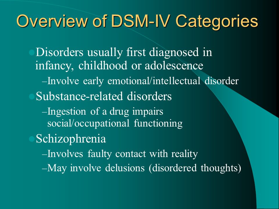 Overview of DSM-IV Categories Disorders usually first diagnosed in infancy, childhood or adolescence – Involve early emotional/intellectual disorder S