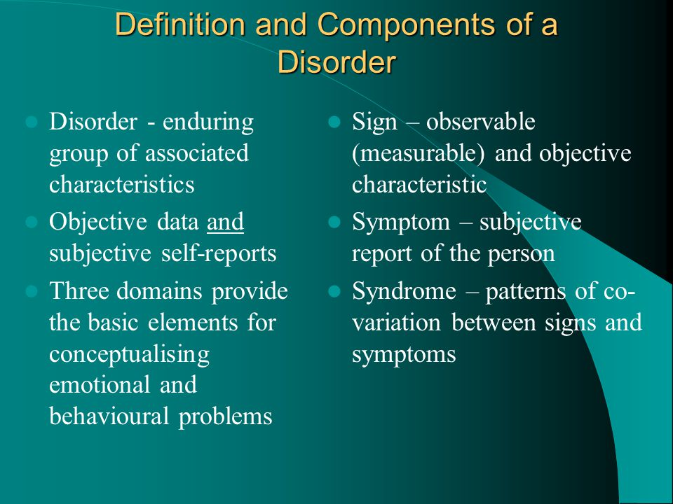 Sexual/gender identity disorders – Involve dysfunction or discomfort with sexual function or identity Sleep disorders – Involve disturbance in amount of sleep or events during sleep Eating disorders – Involve under- or over-eating Factitious disorder – Involved in persons who produce or complain of psychological symptoms (sick role) Other Disorders