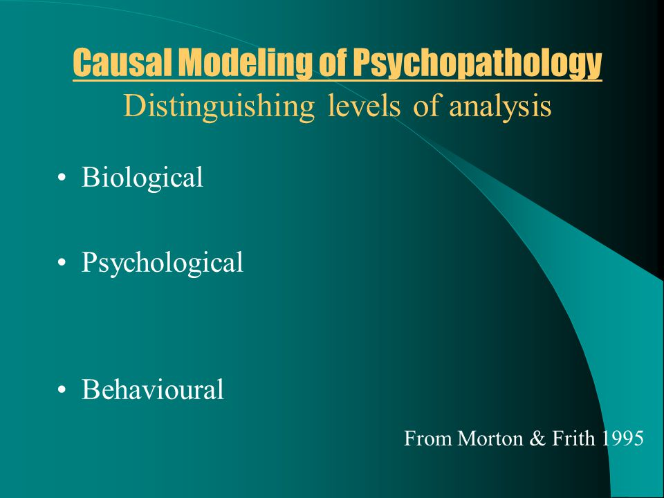 Causal Modeling of Psychopathology Distinguishing levels of analysis Biological Psychological Behavioural From Morton & Frith 1995