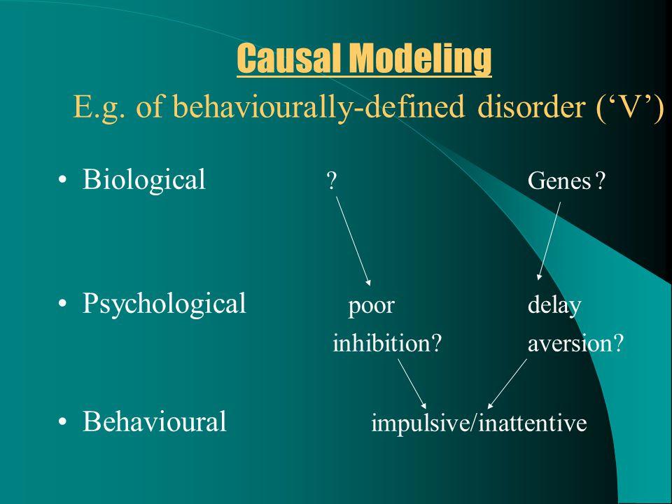 Causal Modeling E.g. of behaviourally-defined disorder ('V') Biological ?Genes.