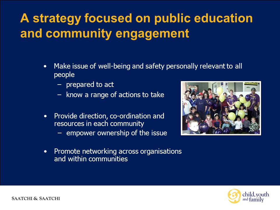 A strategy focused on public education and community engagement Provide direction, co-ordination and resources in each community –empower ownership of the issue Promote networking across organisations and within communities Make issue of well-being and safety personally relevant to all people –prepared to act –know a range of actions to take