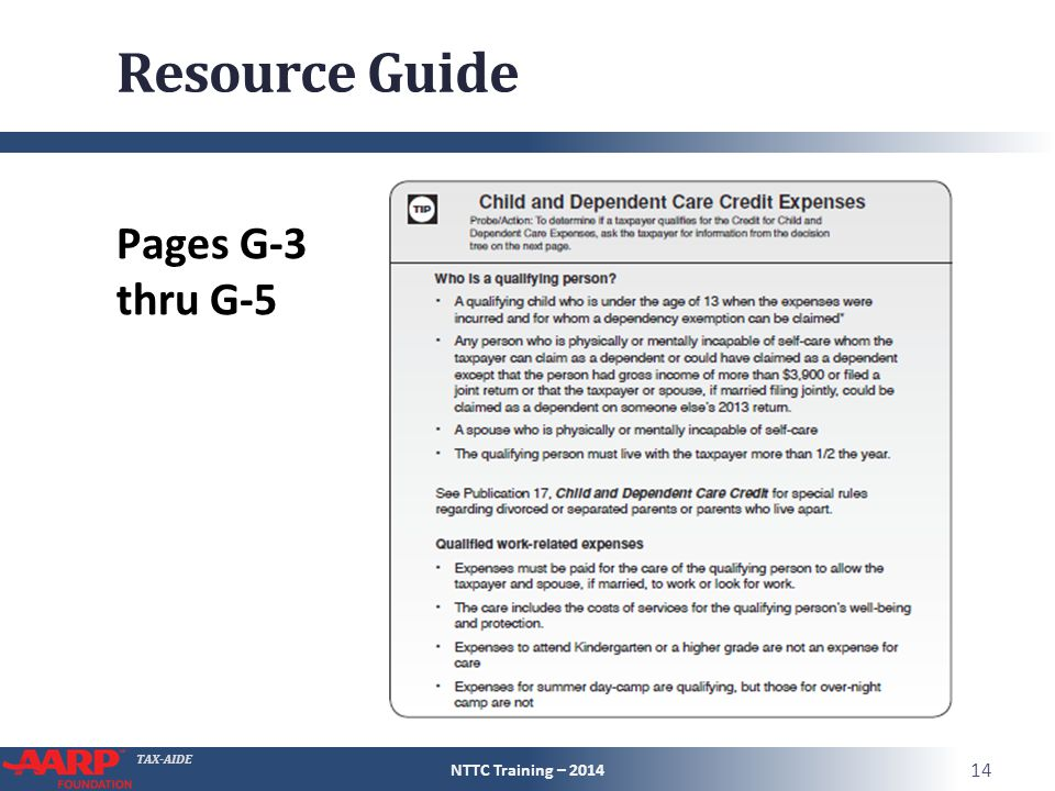 TAX-AIDE Resource Guide Pages G-3 thru G-5 NTTC Training – 2014 14