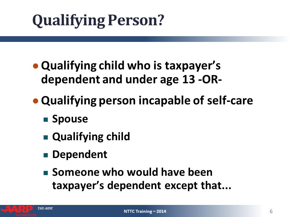 TAX-AIDE Qualifying Person.