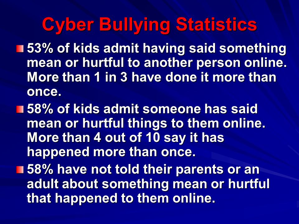 Cyber Bullying Statistics 53% of kids admit having said something mean or hurtful to another person online. More than 1 in 3 have done it more than on