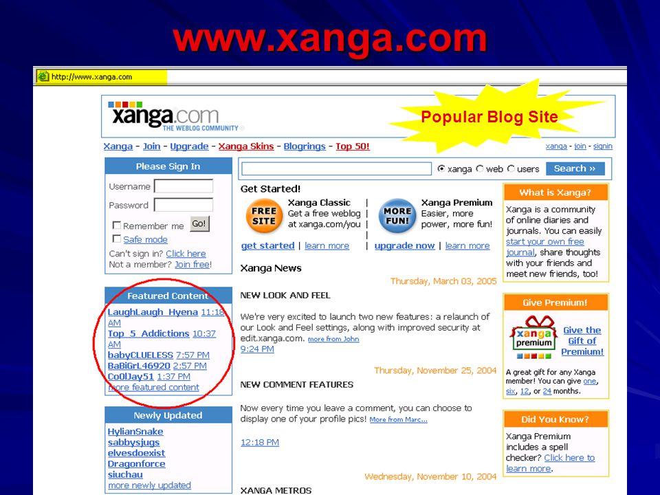www.xanga.com Popular Blog Site