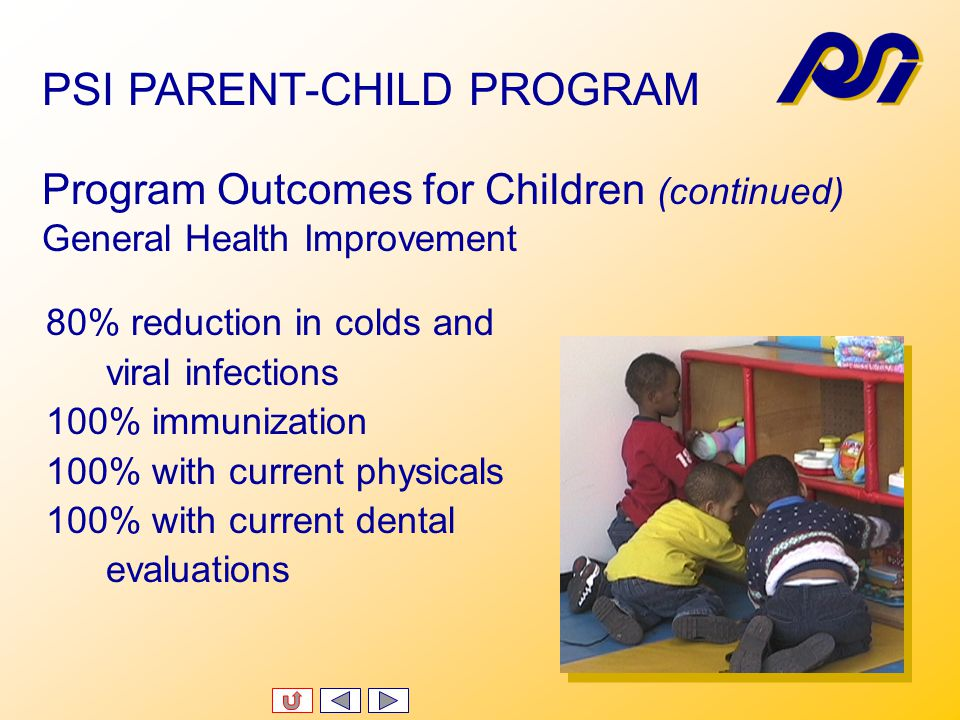 Program Outcomes for Children Academic/Developmental Gain 100% had some improvement in developmental functioning as measured by HELP Of 14 children enrolled -- 5 function at expected developmental level 6showed significant developmental gains 3 showed modest developmental gains PSI PARENT-CHILD PROGRAM