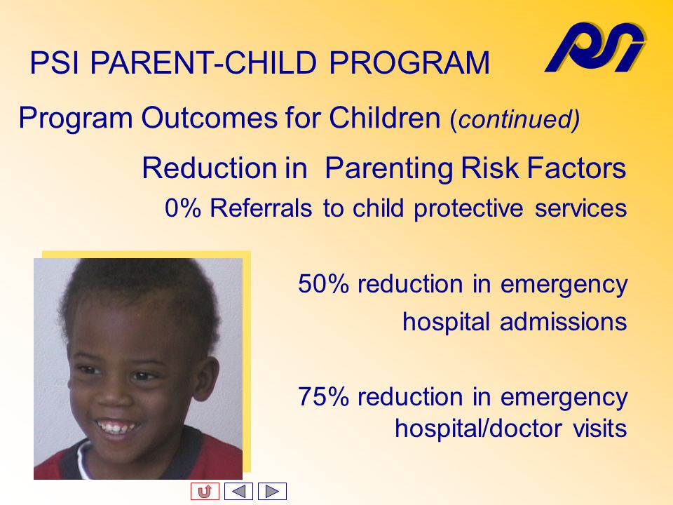 Program Outcomes for Children (continued) General Health Improvement 80% reduction in colds and viral infections 100% immunization 100% with current physicals 100% with current dental evaluations PSI PARENT-CHILD PROGRAM