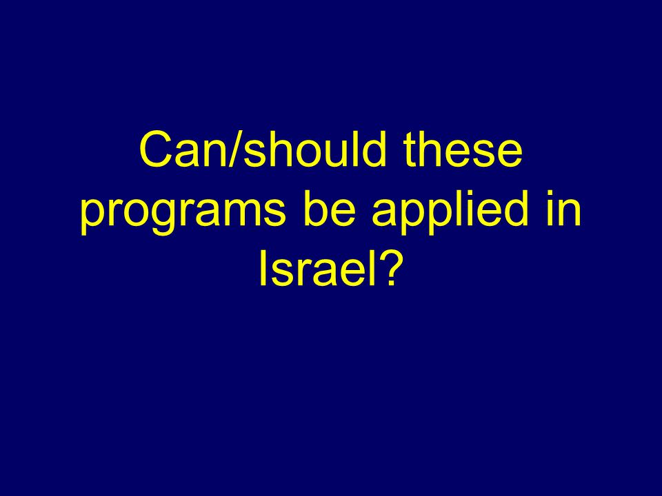 Can/should these programs be applied in Israel