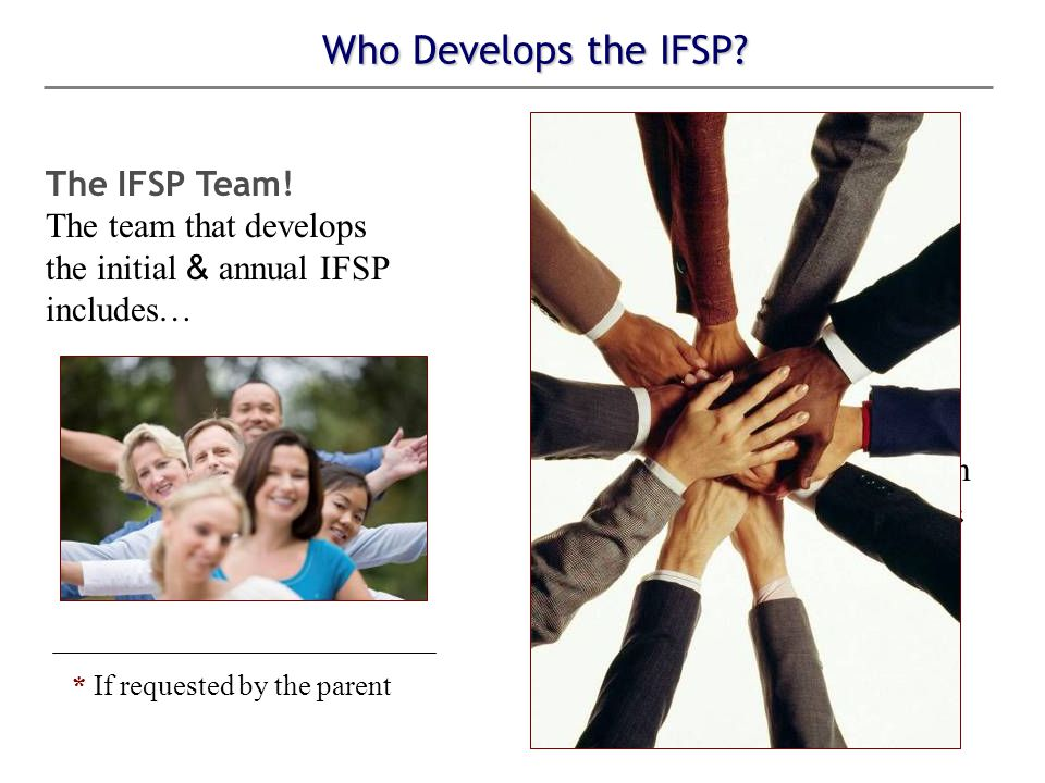Who Develops the IFSP. The IFSP Team.