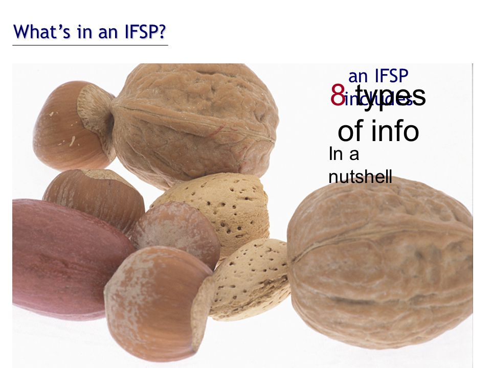 What's in an IFSP? In a nutshell an IFSP includes 8 types of info