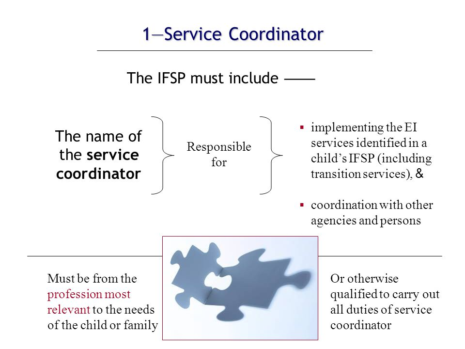 6—Other Services 6—Other Services (cont.) If those services are not currently being provided… …the IFSP must include a description of the steps the service coordinator or family may take to assist the child and family in securing those other services