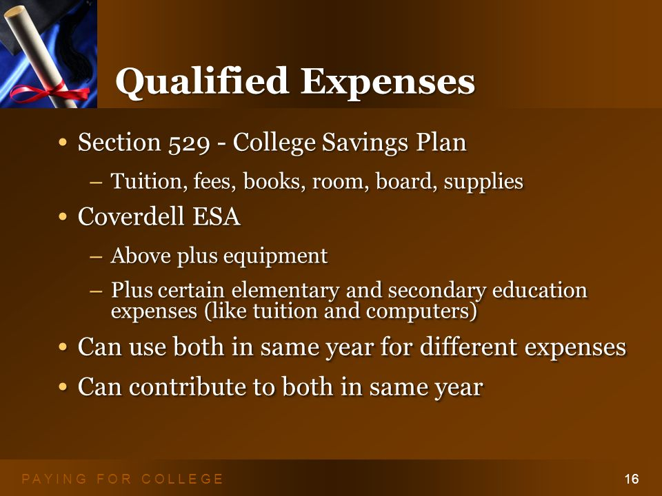 P A Y I N G F O R C O L L E G E16 Qualified Expenses Section College Savings Plan Section College Savings Plan – Tuition, fees, books, room, board, supplies Coverdell ESA Coverdell ESA – Above plus equipment – Plus certain elementary and secondary education expenses (like tuition and computers) Can use both in same year for different expenses Can use both in same year for different expenses Can contribute to both in same year Can contribute to both in same year Section College Savings Plan Section College Savings Plan – Tuition, fees, books, room, board, supplies Coverdell ESA Coverdell ESA – Above plus equipment – Plus certain elementary and secondary education expenses (like tuition and computers) Can use both in same year for different expenses Can use both in same year for different expenses Can contribute to both in same year Can contribute to both in same year