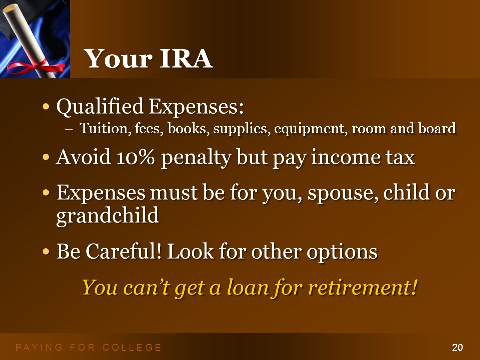 P A Y I N G F O R C O L L E G E20 Your IRA Qualified Expenses: Qualified Expenses: – Tuition, fees, books, supplies, equipment, room and board Avoid 10% penalty but pay income tax Avoid 10% penalty but pay income tax Expenses must be for you, spouse, child or grandchild Expenses must be for you, spouse, child or grandchild Be Careful.