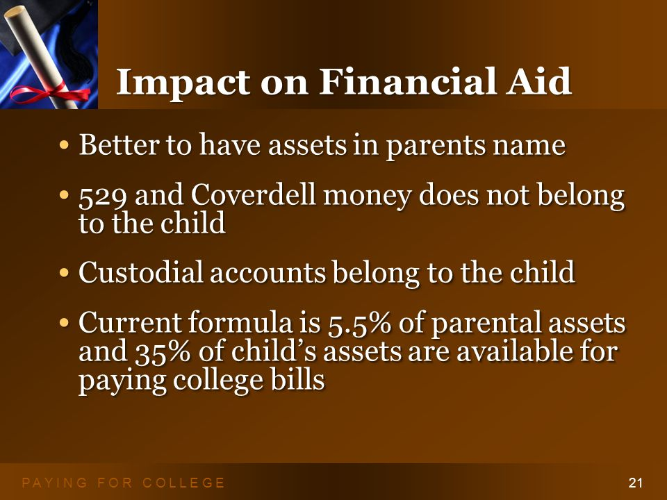 P A Y I N G F O R C O L L E G E21 Impact on Financial Aid Better to have assets in parents name Better to have assets in parents name 529 and Coverdell money does not belong to the child 529 and Coverdell money does not belong to the child Custodial accounts belong to the child Custodial accounts belong to the child Current formula is 5.5% of parental assets and 35% of child's assets are available for paying college bills Current formula is 5.5% of parental assets and 35% of child's assets are available for paying college bills Better to have assets in parents name Better to have assets in parents name 529 and Coverdell money does not belong to the child 529 and Coverdell money does not belong to the child Custodial accounts belong to the child Custodial accounts belong to the child Current formula is 5.5% of parental assets and 35% of child's assets are available for paying college bills Current formula is 5.5% of parental assets and 35% of child's assets are available for paying college bills