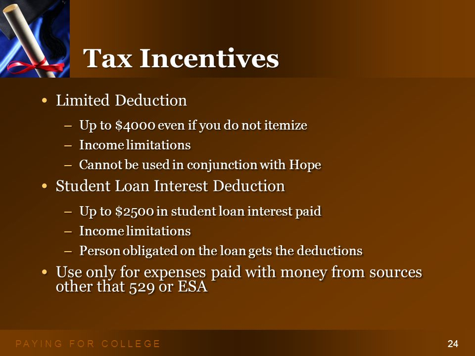 P A Y I N G F O R C O L L E G E24 Tax Incentives Limited Deduction Limited Deduction – Up to $4000 even if you do not itemize – Income limitations – Cannot be used in conjunction with Hope Student Loan Interest Deduction Student Loan Interest Deduction – Up to $2500 in student loan interest paid – Income limitations – Person obligated on the loan gets the deductions Use only for expenses paid with money from sources other that 529 or ESA Use only for expenses paid with money from sources other that 529 or ESA Limited Deduction Limited Deduction – Up to $4000 even if you do not itemize – Income limitations – Cannot be used in conjunction with Hope Student Loan Interest Deduction Student Loan Interest Deduction – Up to $2500 in student loan interest paid – Income limitations – Person obligated on the loan gets the deductions Use only for expenses paid with money from sources other that 529 or ESA Use only for expenses paid with money from sources other that 529 or ESA